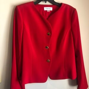 Red Jacket style top for work.